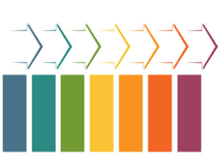 Set horizontal color arrows, template infographic for 7 position, options, steps or processes.