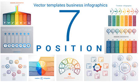 infochart: Set colorful templates for infographic 7 positions Illustration