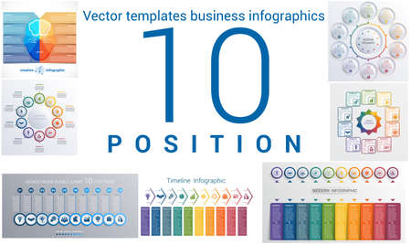 infochart: Set colorful templates for infographic 10 positions