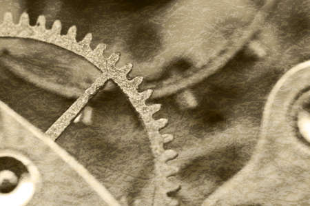 crack: Creative abstract stylized view of old grunge texture of steel gears. Macro. Sepia