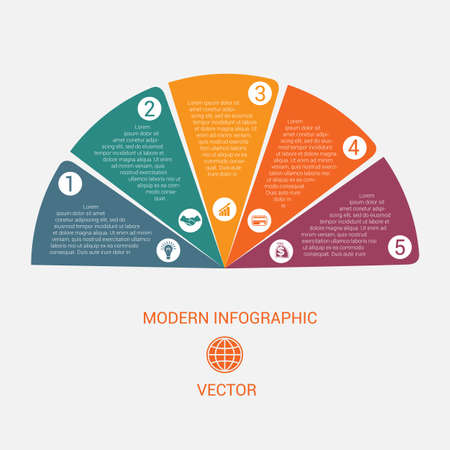 Business chart modern infographic vector template from color semicircle for 5 options business processes, workflow, diagram, flowchart