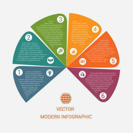 Business chart modern infographic vector template from color semicircle for 6 options business processes, workflow, diagram, flowchart Illustration