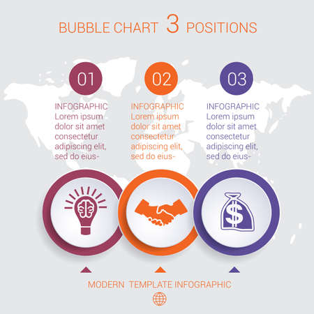 Charts business infographic step by step 3 positions colorful bubbles