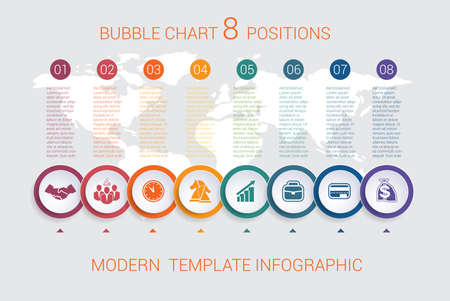 Charts business infographic step by step 8 positions colorful bubbles