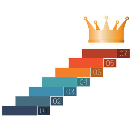 Seven steps to crown. Template infographics for 7 positions. White background. Stock Photo