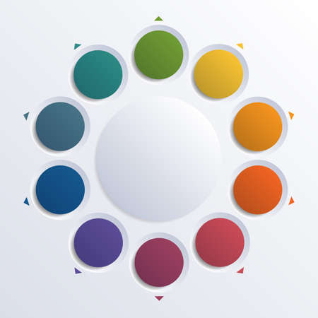 Color circles infographic ten positions. Template