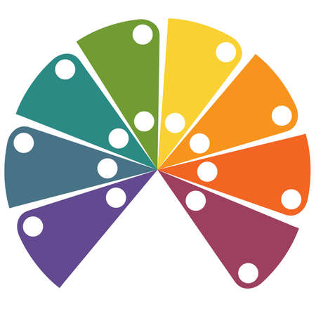 Flat template infographic color semicircle for 8 positions