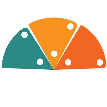 Infographic Farbhalbkreis der flachen Schablone für 3 Positionen