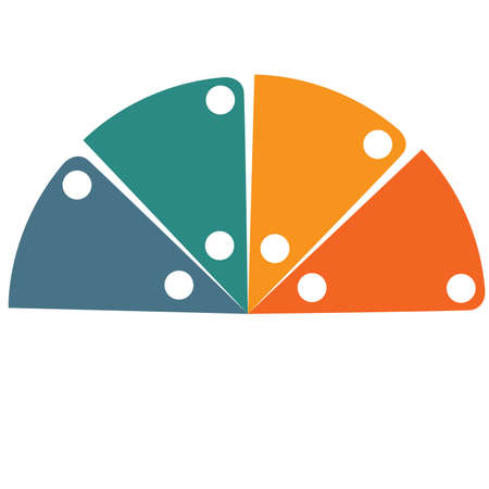 Flat template infographic color semicircle for 4 positions 写真素材