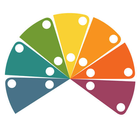 Flat template infographic color semicircle for 7 positions