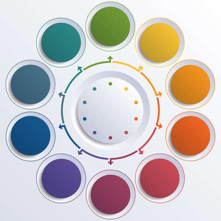 テンプレート インフォ グラフィック カラー円 10 の位置のための円します。