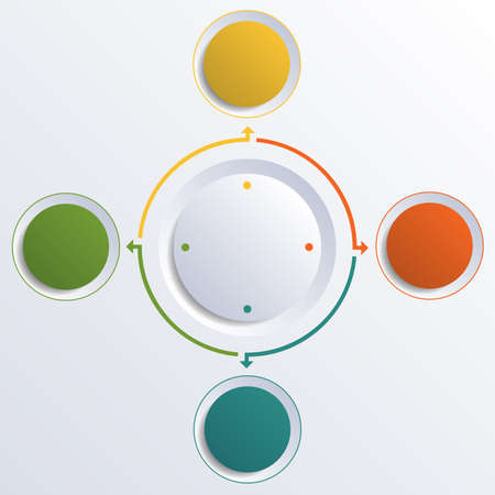 Template infographic color circles round circle for 4 positions