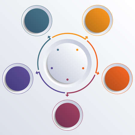 Template infographic color circles round circle for 5 positions