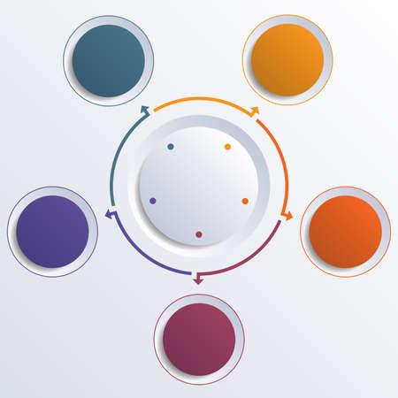 Vorlage Infographik Farbkreise runden Kreis für 5 Positionen