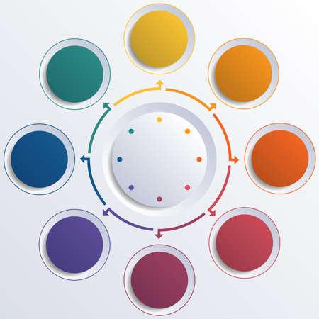 テンプレート インフォ グラフィック カラー円 8 つの位置のための円します。 写真素材