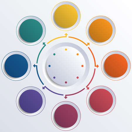 Template infographic color circles round circle for 8 positions Фото со стока