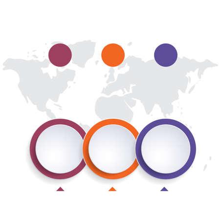 Template infographic color bubbles chart 3 positions