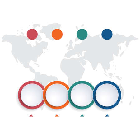 Template infographic color bubbles chart 4 positions Stock Photo