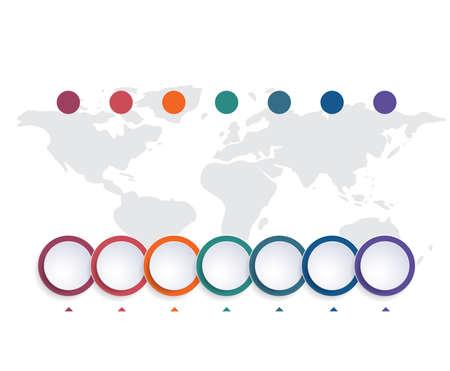 Template infographic color bubbles chart 7 positions