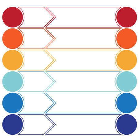 Template infographics color arrows and circles for 6 positions