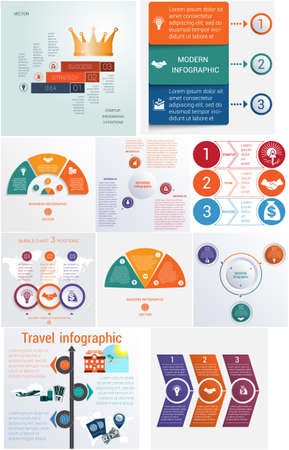 Set 10 universal templates elements Infographics conceptual cyclic processes for 3 positions possible to use for workflow, banner, diagram, web design, timeline, area chart,number options