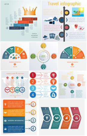 Set 10 universal templates elements Infographics conceptual cyclic processes for 4 positions possible to use for workflow, banner, diagram, web design, timeline, area chart,number options Illustration