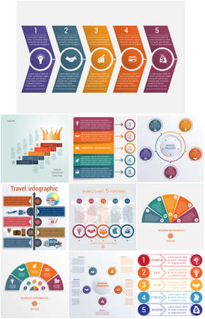 Set 10 universal templates elements Infographics conceptual cyclic processes for 5 positions possible to use for workflow, banner, diagram, web design, timeline, area chart,number options Illustration