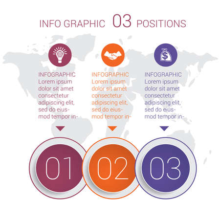 Modern minimal colorful diagram info graphics. Vector template 3 positions against the background of the world map.