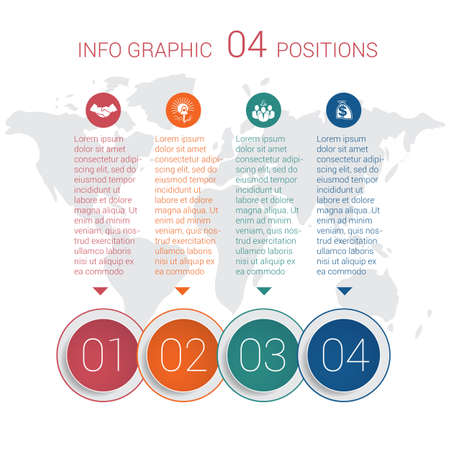 Modern minimal colorful diagram info graphics. Vector template 4 positions against the background of the world map.