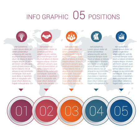 Modern minimal colorful diagram info graphics. Vector template 5 positions against the background of the world map.