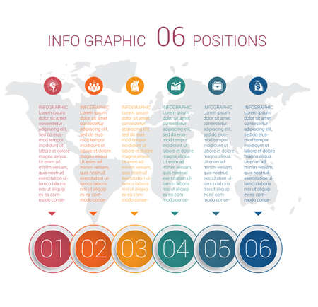 Modern minimal colorful diagram info graphics. Vector template 6 positions against the background of the world map.
