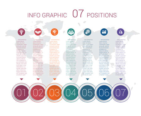 Modern minimal colorful diagram info graphics. Vector template 7 positions against the background of the world map. Illustration