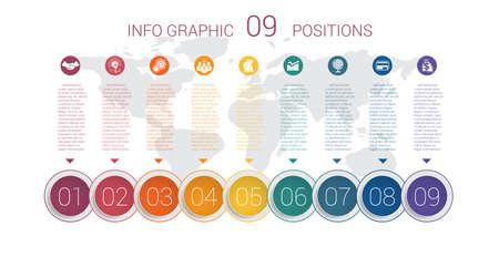 Modern minimal colorful diagram info graphics. Vector template 9 positions against the background of the world map.