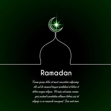 Template vector with moon, mosque, star, dark green background with inscription Ramadan.