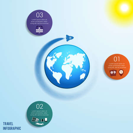 Flying rocket around the globe against a blue sky with a bright yellow sun, 3 colored circles numbered with space for text around the world map, can be used for presentations, step by step processes. Travel infographic