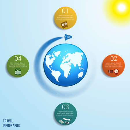 Flying rocket around the globe against a blue sky with a bright yellow sun, 4 colored circles numbered with space for text around the world map, can be used for presentations, step by step processes. Travel infographic.