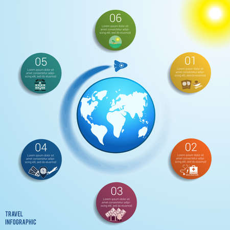 Flying rocket around the globe against a blue sky with a bright yellow sun, 6 colored circles numbered with space for text around the world map, can be used for presentations, step by step processes. Travel infographic Illustration