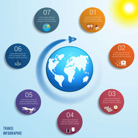 Flying rocket around the globe against a blue sky with a bright yellow sun, 7 colored circles numbered with space for text around the world map, can be used for presentations, step by step processes. Travel infographic