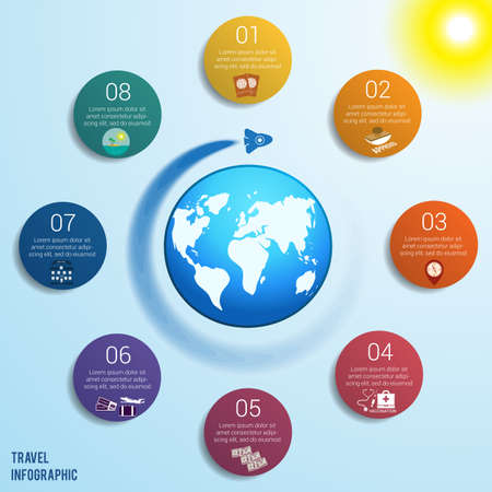 Flying rocket around the globe against a blue sky with a bright yellow sun, 8 colored circles numbered with space for text around the world map, can be used for presentations, step by step processes. Travel infographic. Illustration