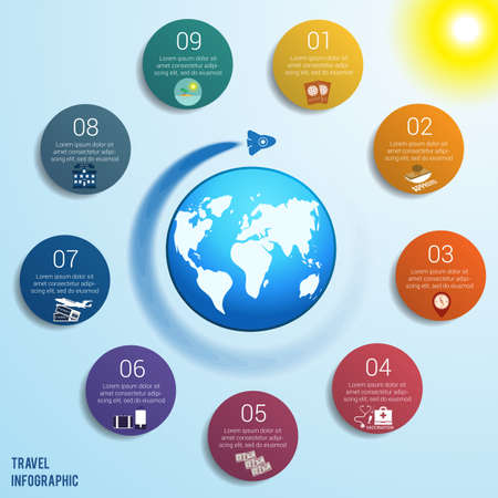 Flying rocket around the globe against a blue sky with a bright yellow sun, 9 colored circles numbered with space for text around the world map, can be used for presentations, step by step processes. Travel infographic