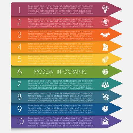 Modèle infographique flèches colorées horizontales lignes 10 positions pour le texte.