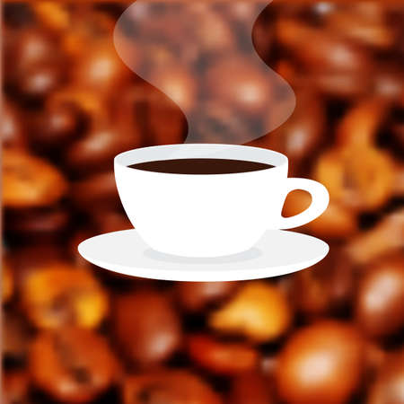 Cup of fresh hot coffee with scent. Label on the blur background coffee texture Stock Photo