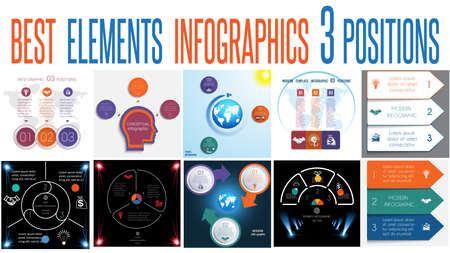 Set of universal templates elements Infographics conceptual cyclic processes for 3 positions possible to use for work flow, banner, diagram, web design, time line, area chart,number options