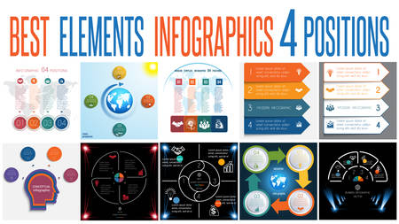 Set of universal templates elements Infographics conceptual cyclic processes for 4 positions possible to use for work flow, banner, diagram, web design, time line, area chart,number options