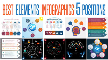 Set of universal templates elements Infographics conceptual cyclic processes for 5 positions possible to use for work flow, banner, diagram, web design, time line, area chart,number options
