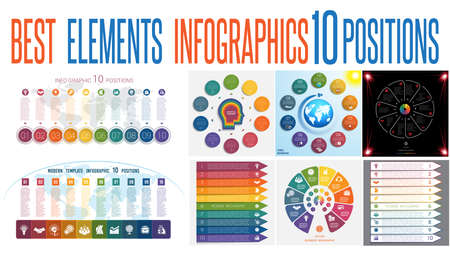 Set 8 universal templates elements Infographics conceptual cyclic processes for 10 positions possible to use for work flow, banner, diagram, web design, time line, area chart,number options