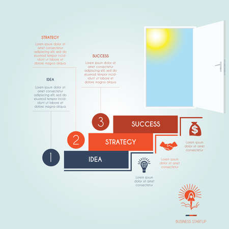 Conceptual infographics steps up stairway to the open door. Business success startup. Template 3 positions, possible to use for workflow, banner, diagram, web design, timeline, area chart, number options, step up options Illustration