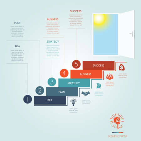 Conceptual infographics steps up stairway to the open door. Business success startup. Template 5 positions, possible to use for workflow, banner, diagram, web design, timeline, area chart, number options, step up options Illustration