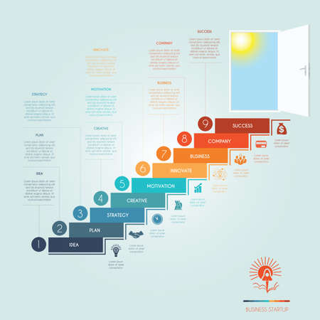 Conceptual infographics steps up stairway to the open door. Business success startup. Template 9 positions, possible to use for workflow, banner, diagram, web design, timeline, area chart, number options, step up options
