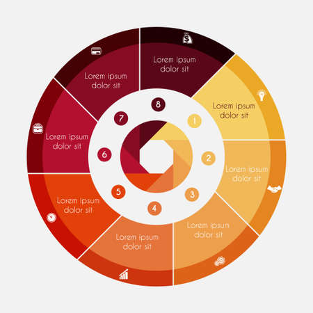 Infographic Business Pie chart for presentations with 8 options, cycle processes.